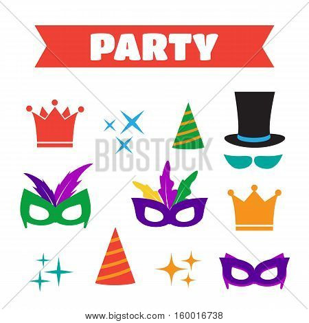 Party Birthday photo booth props. Hat and mask costume and cylinder