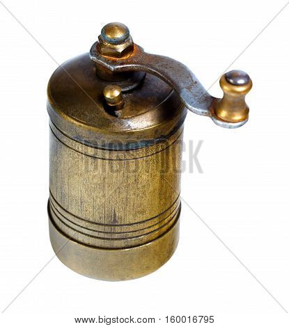 Old-fashioned pepper spice coffee mill isolated on a white background