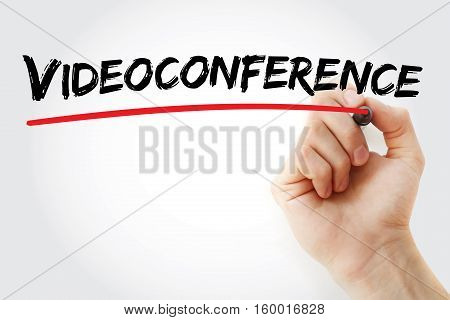 Hand Writing Videoconference With Marker