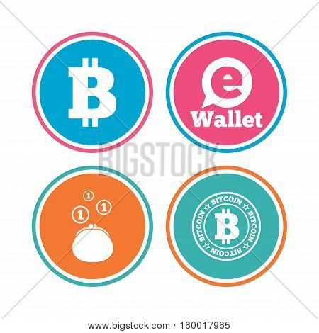 Bitcoin icons. Electronic wallet sign. Cash money symbol. Colored circle buttons. Vector