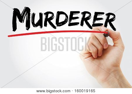 Hand Writing Murderer With Marker