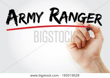 Hand Writing Army Ranger With Marker