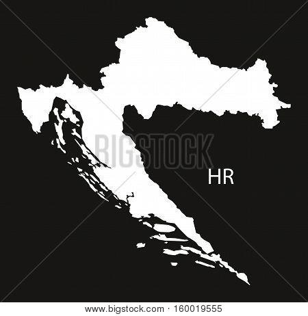 Croatia Map black white country silhouette illustration