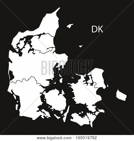 Denmark regions Map black white country silhouette illustration