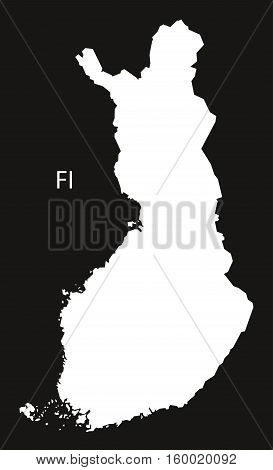 Finland Map black white country silhouette illustration