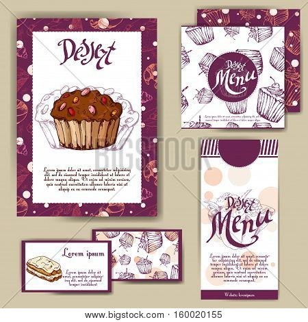 Vector template with hand drawn sketch bakery. Dessert menu design for reataurant or cafe. Cards with sweet bakery illustration.