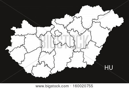 Hungary counties Map black white country silhouette illustration