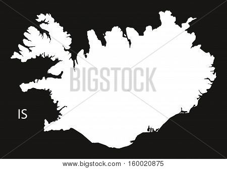 Iceland Map black white country silhouette illustration