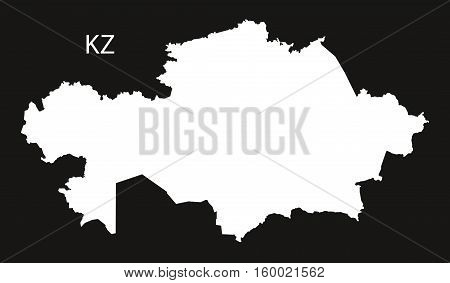 Kazakhstan Map black white country silhouette illustration