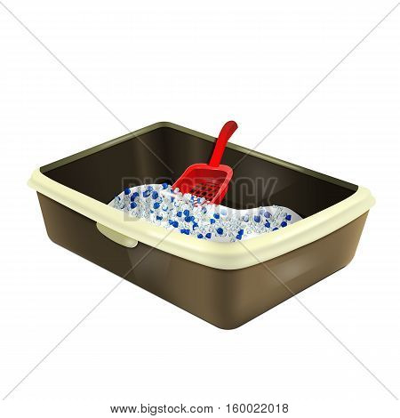 Cat litter box. Plastic catbox filled with crystal litter. Isolated litter tray with silica gel and red matching scoop. Pet supplies for pet shop. Vector EPS10 realistic illustration.