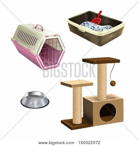 Pet shop accessories. Set of pet supplies. Isolated collection of cat products. A tree, litter box, bowl and cat carrier on white background. Realistic vector EPS10 illustration.
