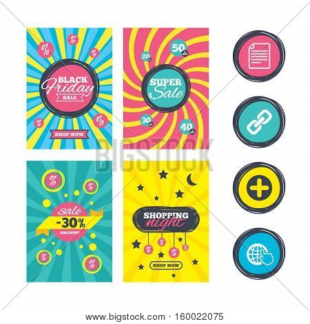 Sale website banner templates. Plus add circle and hyperlink chain icons. Document file and globe with hand pointer sign symbols. Ads promotional material. Vector