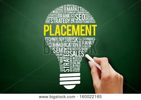 Placement Bulb Word Cloud Collage