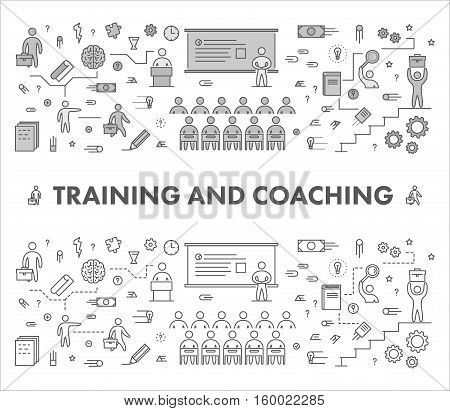 Line design concept web banner for training and coaching. Linear vector illustration.