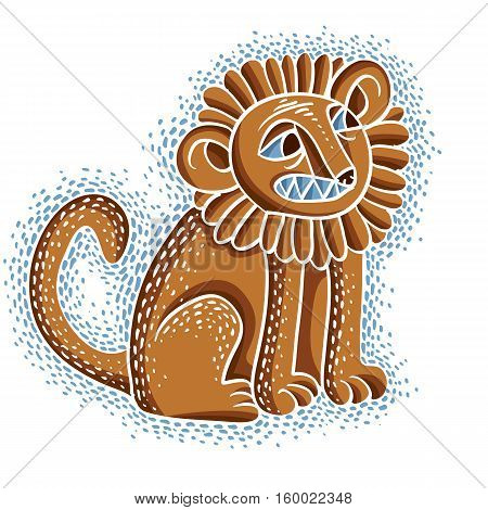 Vector Illustration Of Orange Sitting Lion With Teeth And Beautiful Mane, Emotional Expression Of Wi