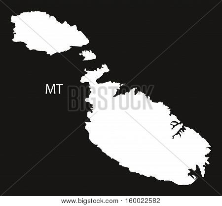 Malta Map black white country silhouette illustration