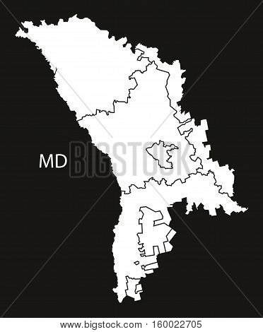 Moldova districts Map black white country silhouette illustration