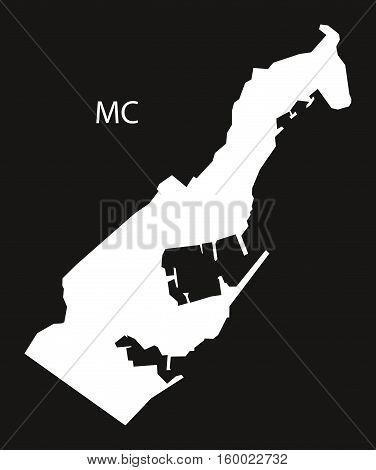 Monaco Map black white country silhouette illustration