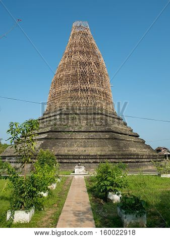 The Ratana Man Aung Pagoda in Mrauk U the Rakhine State of Myanmar damaged by earthquake on 24 August 2016. The bamboo scaffolding is built to protect the pagoda from further damage and to make repair works easier.