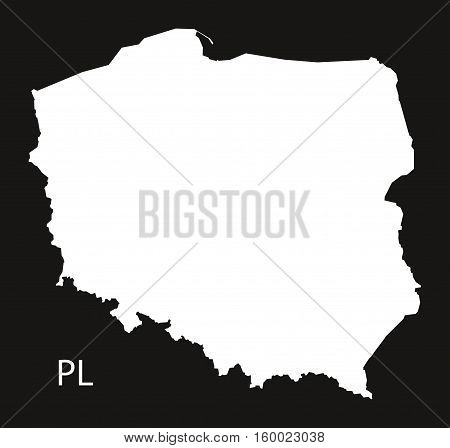 Poland Map black white country silhouette illustration