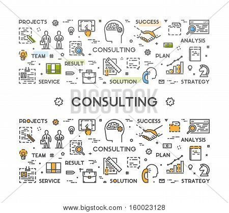 Horizontal line web concept for consulting. Vector linear banner for business consultation. Open path.