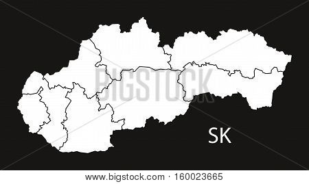 Slovakia districts Map black white country silhouette illustration