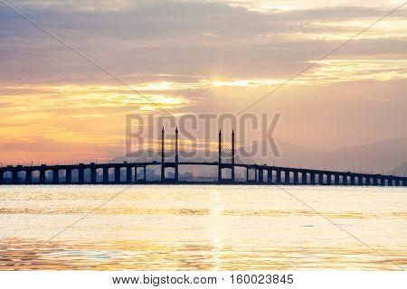 Concrete bridge view during sunrise as background
