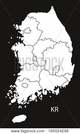 South Korea with regions Map black white country silhouette illustration