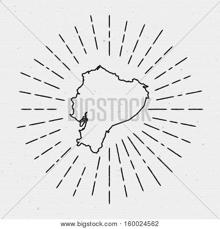 Retro Sunburst Hipster Design. Ecuador Map Surrounded By Vintage Sunburst Rays. Trendy Hand Drawn Su