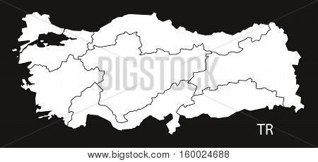 Turkey Map with regions black white country silhouette illustration