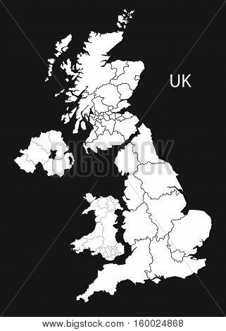 United Kingdom Map with countries black white country silhouette illustration