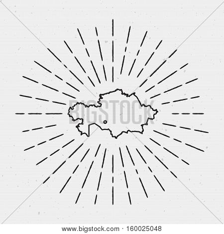 Retro Sunburst Hipster Design. Kazakhstan Map Surrounded By Vintage Sunburst Rays. Trendy Hand Drawn