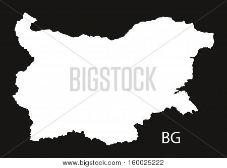 Bulgaria Map black white country silhouette illustration
