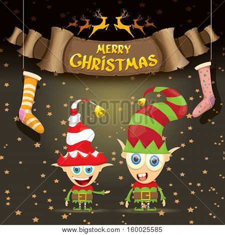vector merry christmas greeting card with cartoon cute christmas little elf, elfin socks, christmas lights stars and golden greeting calligraphic text on old vintage paper banner ribbon.