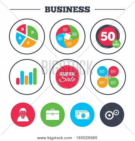 Business pie chart. Growth graph. Businessman icons. Human silhouette and cash money signs. Case and gear symbols. Super sale and discount buttons. Vector