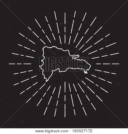 Dominican Republic Vector Map Outline With Vintage Sunburst Border. Hand Drawn Map With Hipster Deco