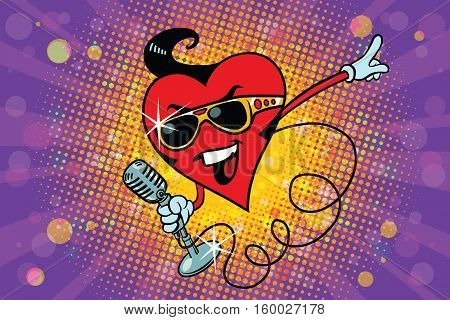Valentine heart singer in the Elvis style. Pop art retro illustration. Valentin day, holiday, wedding love and romance. Rock star on stage