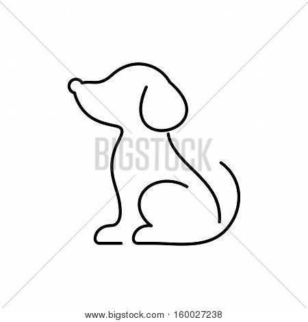 Minimalist black vector dog thin line icon isolated