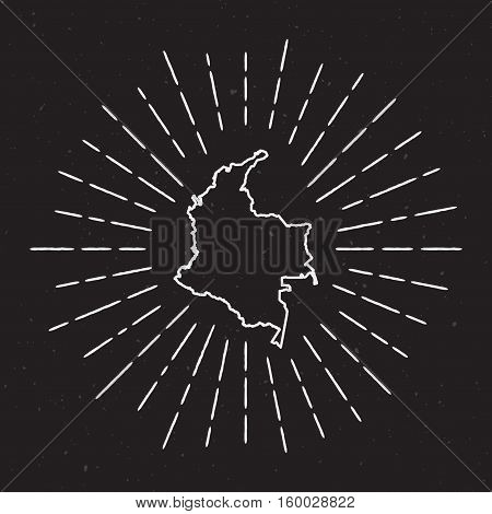 Colombia Vector Map Outline With Vintage Sunburst Border. Hand Drawn Map With Hipster Decoration Ele