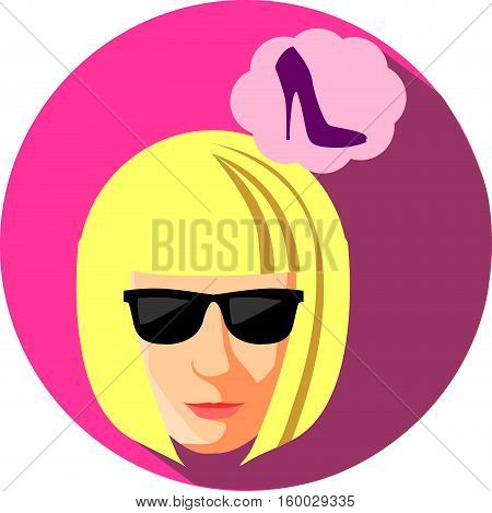 Fashionable woman in sun glasses dreaming about shoes. Flat Style. The girl blonde on a burgundy background
