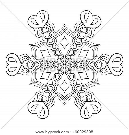Zentangle elegant snow flake, mandala for adult coloring pages. Vector ornamental winter illustration for decoration, Christmas greeting cards, invitation template.