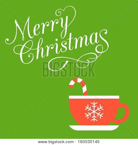 Merry Christmas calligraphic font with swirl tail and red cup with sugar cane inside for christmas holiday on green background, flat design