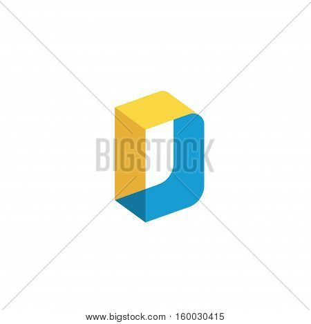 letter D colorful creative vector  , letter D technology, letter D concept isometric