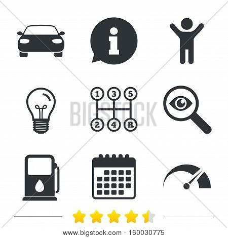 Transport icons. Car tachometer and manual transmission symbols. Petrol or Gas station sign. Information, light bulb and calendar icons. Investigate magnifier. Vector