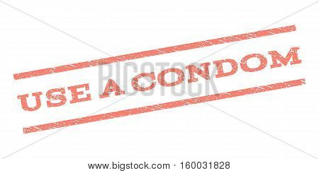 Use a Condom watermark stamp. Text tag between parallel lines with grunge design style. Rubber seal stamp with dust texture. Vector salmon color ink imprint on a white background.