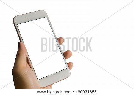 Women's Hand Holding The Smartphone With White Screen Isolated On White Background.di Cut