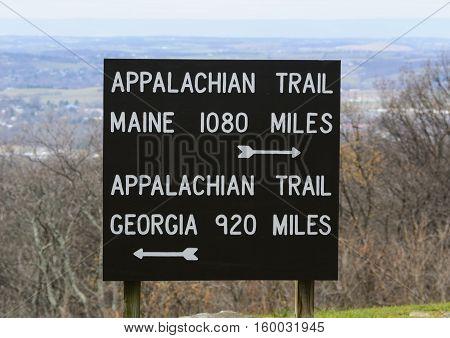 An Appalachian Trail marker in Penn-Mar park, Cascade, Washington County, Maryland, USA.
