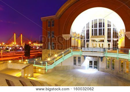 Tacoma Downtown With Museum Of History And Cable Bridge