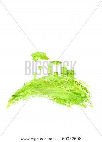 Silhouette of a city, factories, land, lawn, drawn by hand with watercolors splash and drops.. The concept of ecology, eco-Friendly. Think green concept. Suitable for natural cosmetics, eco products, labels, advertising.