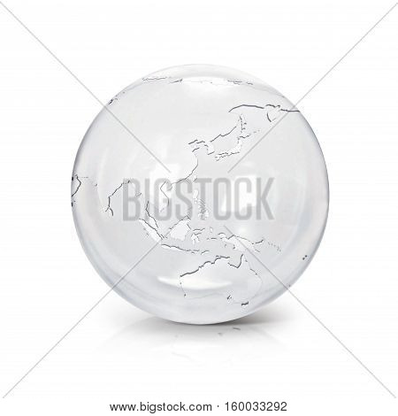 Clear glass globe 3D illustration Asia & Australia map on white background